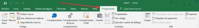 Pestaña Programador Excel