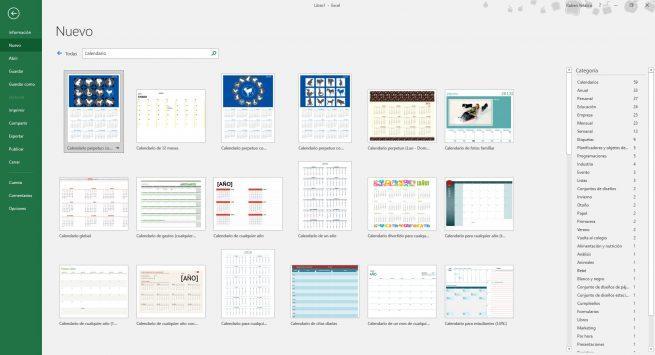 Plantillas calendario Excel