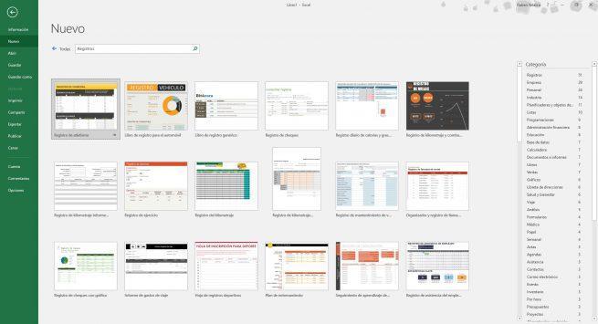 Plantillas de registros de Excel