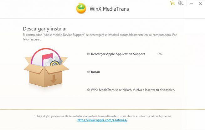 WinX MediaTrans - Instalar drivers Apple