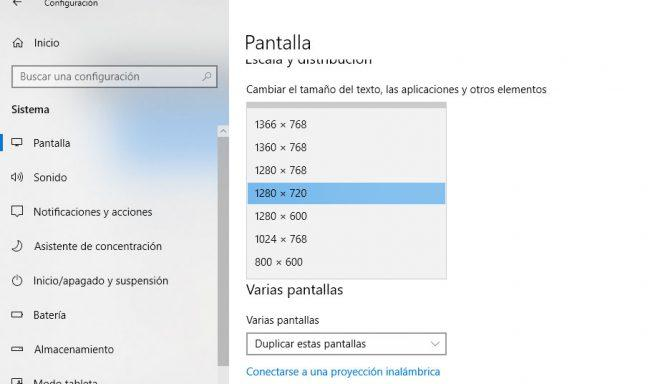 cambiar la resolución de tu pantalla en windows 10