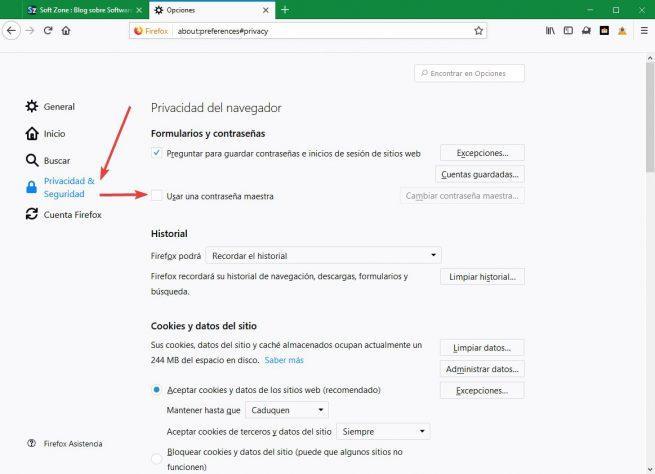 Activar contraseña maestra Firefox