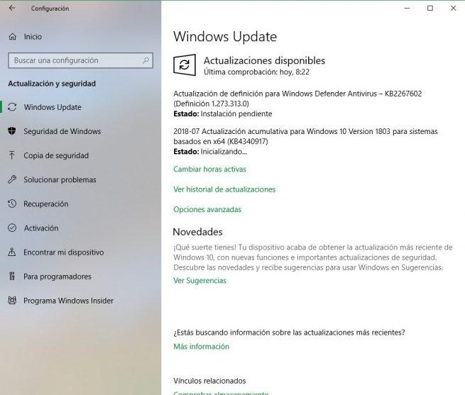 Actualizaciones acumulativas KB4340917 Windows 10 April