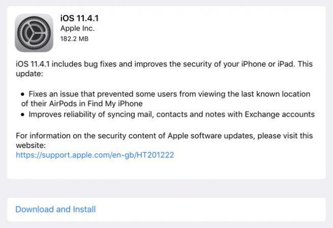 Actualizar iOS 11.4.1