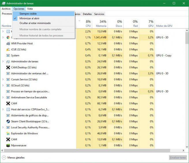 Administrador de tareas siempre visible Windows 10