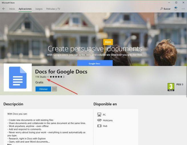 App Google falsa Microsoft Store WIndows 10