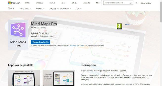 Mind Maps Pro gratis en Microsoft Store