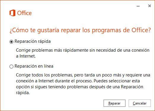 Reparar Office