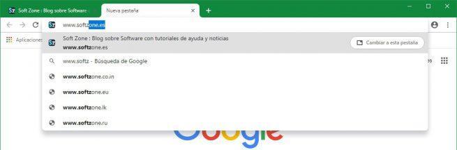 Sugerencia pestaña omnibarra Google Chrome