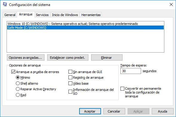 arrancar en modo seguro Windows 10