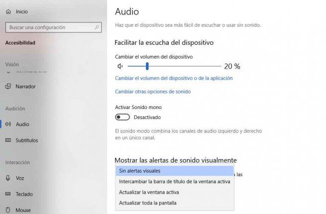 notificaciones visuales para los sonidos
