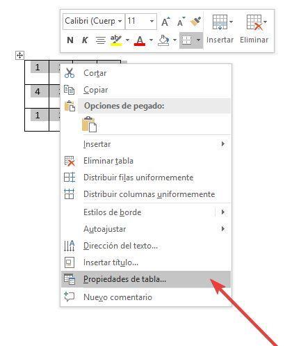 Abrir propiedades de tabla en Word
