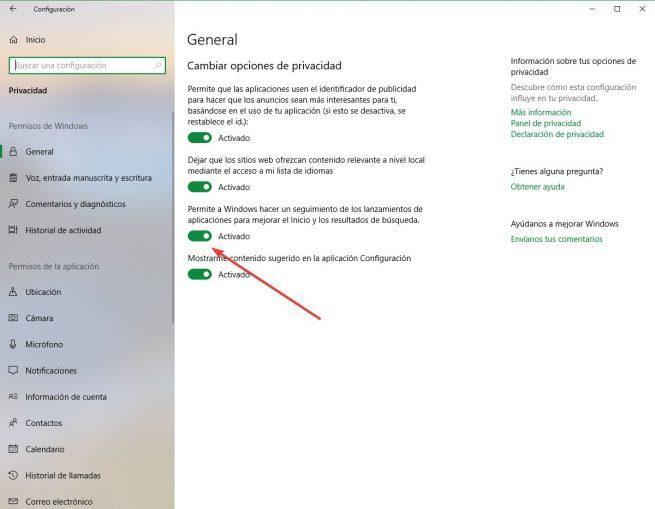 Desactivar monitoriación aplicaciones Windows 10