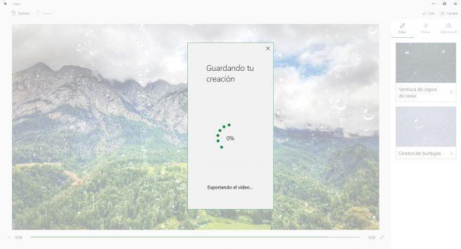 Exportando vídeo fotos Windows 10