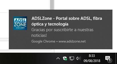 Notificaciones Chrome Windows 10