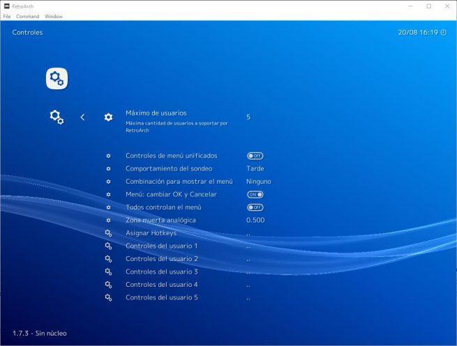 Opciones controles RetroArch 1