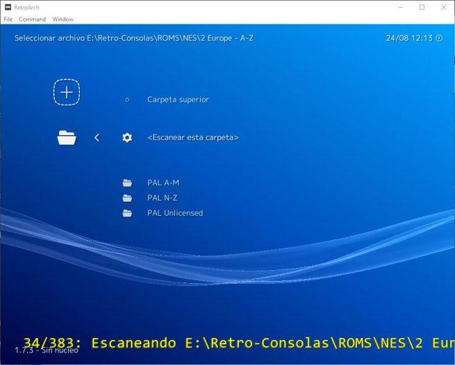 RetroArch - Escaneando carpeta