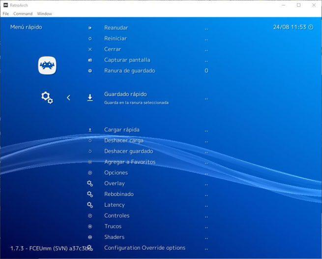 RetroArch - Opciones menú rápido