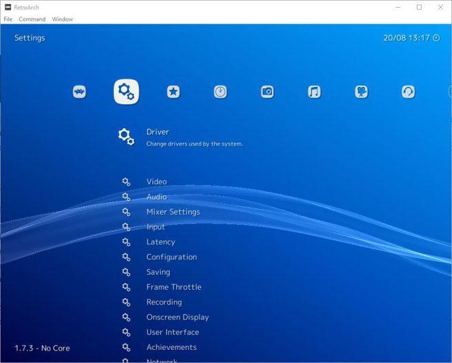 RetroArch - apartados menu 1