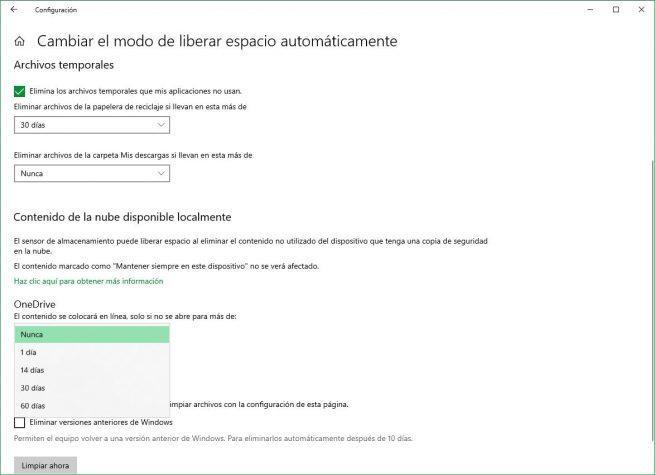 Activar borrado de archivos de OneDrive en sensor de almacenamiento de Windows 10