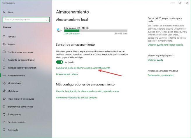 Configurar sensor de almacenamiento Windows 10