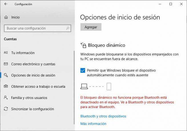bloqueo dinámico de Windows 10