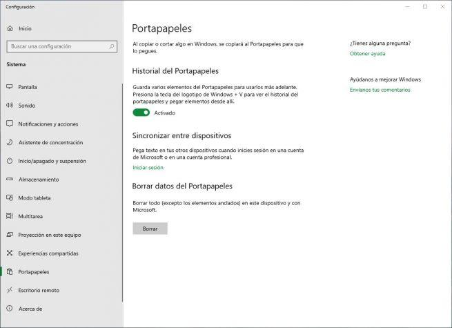 Activar historial del portapapeles Windows 10 October 2018 Update