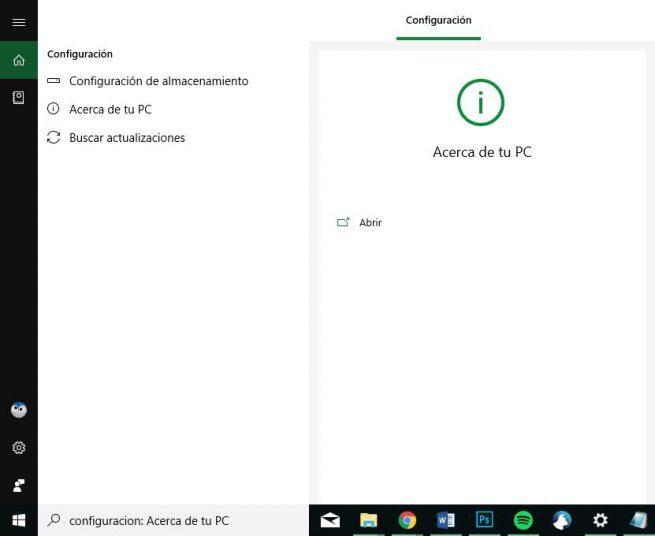 Configuración - Cortana en Windows 10 October 2018 Update