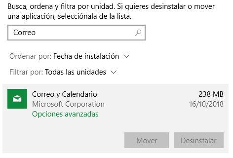 Desinstalar Correo Windows 10