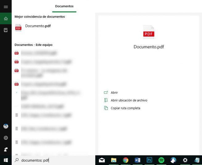 Documentos - Cortana en Windows 10 October 2018 Update