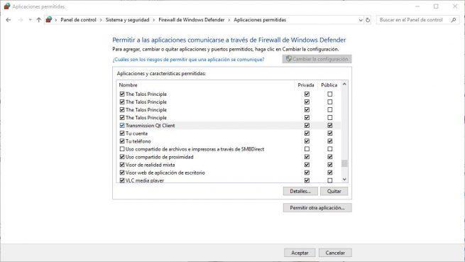 Firewall Windows Transmission