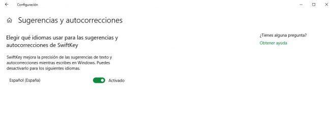 Opciones Swiftkey Windows 10 October 2018 Update