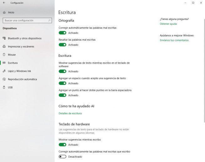 Opciones escritura Windows 10 October 2018 Update