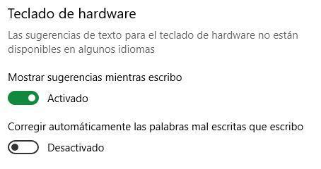 Opciones teclado por hardware Windows 10
