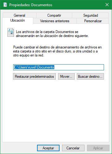 Ubicación documentos Windows 10