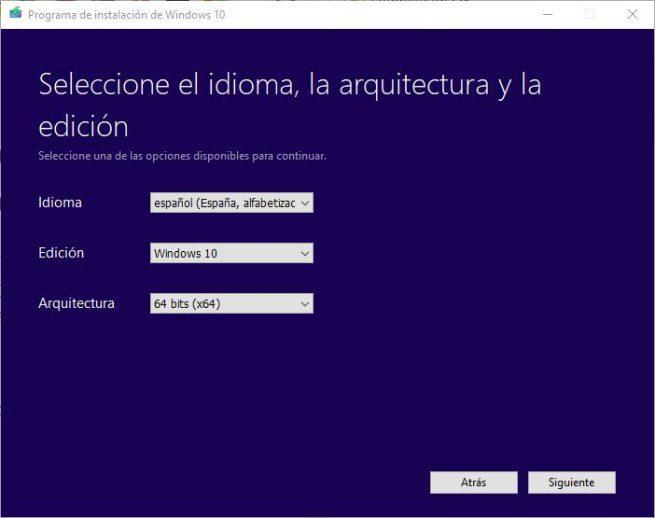 Windows 10 October 2018 Update - Crear ISO - parámetros de la ISO