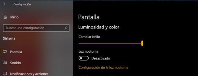 Windows 10 brillo