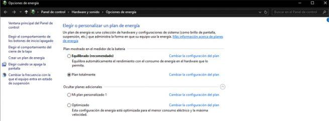 Plan energético Windows 10