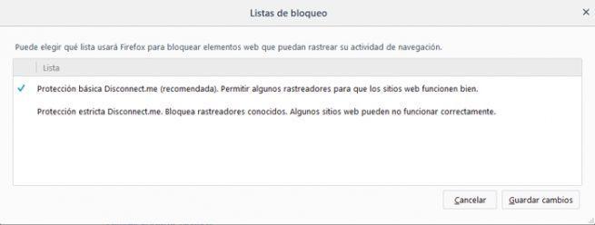 Rastreo Firefox
