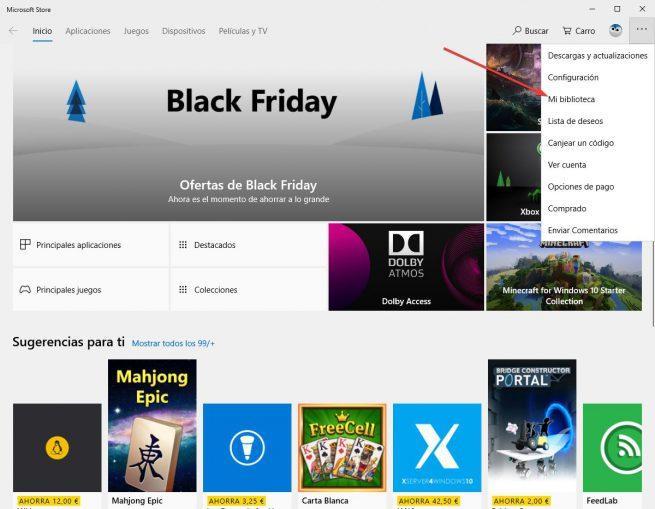 Abrir configuración MIcrosoft Store Windows 10