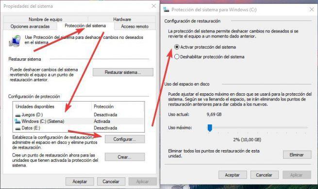 Activar configurar punto restauración Windows 10