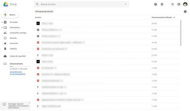 Archivos que más ocupan en Google Drive