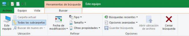 Búsqueda personalizada Windows 10