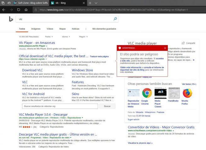 Bing Aviso VLC