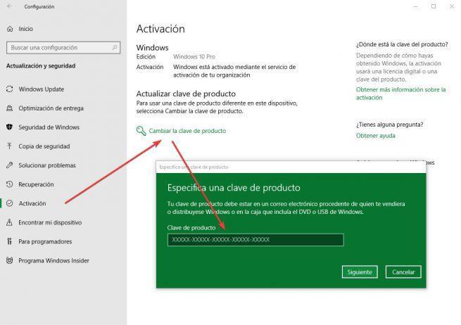 Cambiar clave licencia Windows 10
