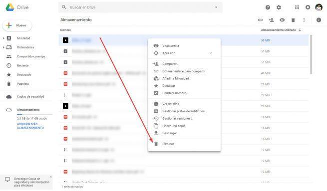 Eliminar archivos de Google Drive