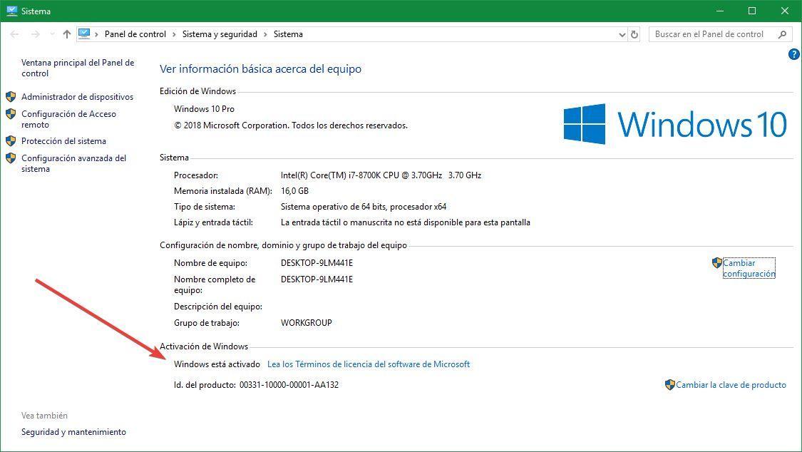 Estado licencia Windows 10