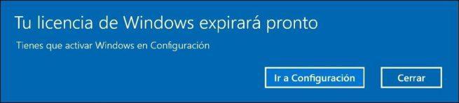 Mensaje Tu licencia de Windows expirará pronto