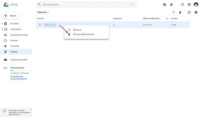 Vaciar papelera Google Drive