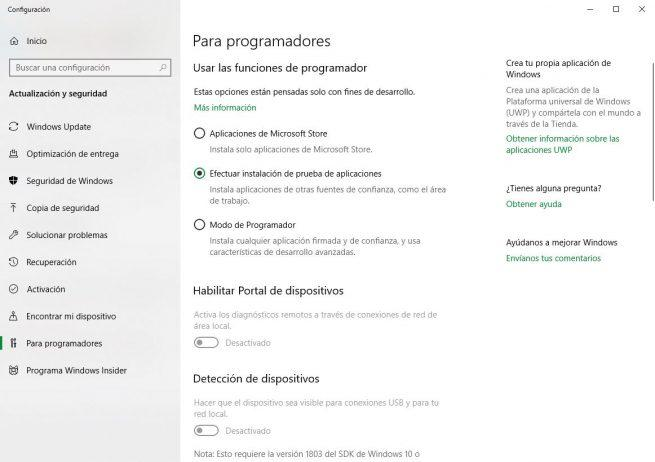 Windows 10 opciones programador
